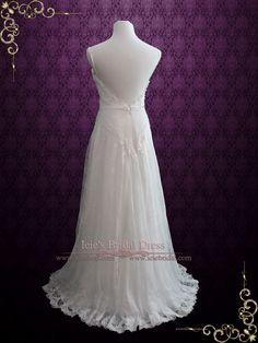 Vintage Style Lace Open Back Chiffon Wedding Dress | Kiana | Ieie's Wedding Dress Boutique http://www.ieiebridal.com/collections/beach-wedding-dresses