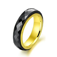 New Fashionable Men And Women Jewelry Vintage Black Round Rotatable Gold Plated Stainless Steel Titanium Ceramic Ring For Party