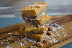 Sweet Potato Bars with Raw Gingerbread Crust recipe image Friday, 03 April 2015	 Description We just love pumpkin pie! But what's even better than pumpkin pie?! Sweet Potato Pie with Gingerbread Crust, of course! Try this recipe by chef Jenne Claiborne of sweetpotatosoul.com/  Ingredients  At a glance Makes 4-6 crust:  1 cup almonds (or 1 cup dry almond pulp) ½ cup shredded coconut, unsweetened 1 ½ cup Medjool dates 3 tsp molasses 1 1/2 inch ginger, minced 1 tsp cinnamon 1/4 tsp nutmeg 1/4…