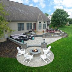 The skill of Keystone's mason team is wonderfully displayed on this captivating patio! Concrete Patio Designs, Patio Deck Designs, Stone Patio Designs, Stamped Concrete Patios, My Patio Design, Backyard Landscape Design, Garden Design Layout Modern, Back Deck Designs, Deck Design Plans