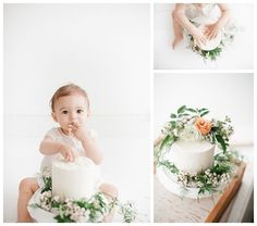 Baby Bohemian Cake Smash Photography | Smash the Cake Photoshoot by Miranda North | Baby Studio Photography Los Angeles and Orange County