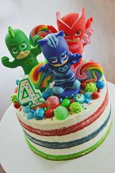PJ Masks- Decorating Tips and Decorated Cakes - Maggie's Birthday - kuchen kindergeburtstag Pj Masks Birthday Cake, 4th Birthday Cakes, 4th Birthday Parties, Birthday Ideas, Boys Bday Cakes, Pj Mask Cupcakes, Cupcake Cakes, Pj Masks Cakes, Torta Pj Mask