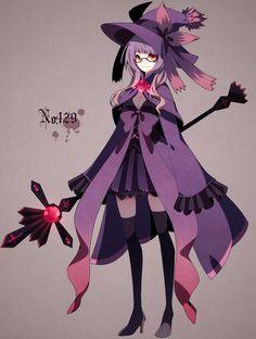 Mismagius Gijinka Cabello Violeta Bruja Siniestro Setro Sombrero Falda Botas Lentes Ojos Amarillos Kawaii Pokemon Anime
