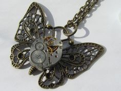 Steampunk Butterfly Necklace pendant vintage watch movement Steam Punk Statement Jewelry Birthday Gift for Her Cosplay womens gift ideas - image 0 - Steampunk Necklace, Butterfly Necklace, Birthday Gifts For Her, Organza Gift Bags, Brass Chain, Vintage Handbags, Vintage Watches, Statement Jewelry, Jewelry Stores