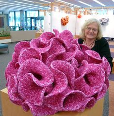 Daina Taimina - the mathematician who figured out that a physical model of a hyperbolic plane (which was thought to be impossible) could be made with crochet.