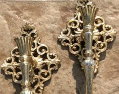 Sale on Vintage Pair of Gold Filigree, Heavy Metal Ornate, Wall Sconces , Hollywood Regency, Shabby Chic, Mid Century, French Country, Glam - Edit Listing - Etsy