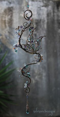 Butterfly Suncatcher with Gemstones, Swarovski and Mixed Metals