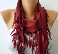 Burgundy  Scarf  - Pashmina  Scarf -  Cowl with Lace Edge   -. $13.50, via Etsy.