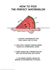 How to Pick the Perfect Watermelon just in case Snacks Sains, Tasty, Yummy Food, Delicious Dishes, Food Facts, Fruit Facts, Baking Tips, Fruits And Veggies, Vegetables