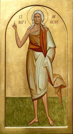 Saint Mary of Egypt Sf Maria Egipteanca Religious Pictures, Religious Icons, Religious Art, Byzantine Art, Byzantine Icons, St Mary Of Egypt, Greek Icons, Christian Pictures, Painting Studio
