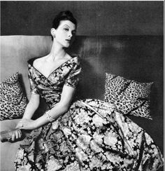1959 Rose Marie in fabulous black and yellow silk floral print dress, the bodice is lined in green velvet, by Pierre Balmain,