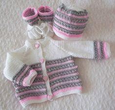Hand Knitted Baby Set  Cardigan Hat  by PreciousNewbornKnits, £26.00