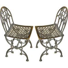 "Pair of Bronze Neo-Gothic Chairs  $8500  (14"" sq x 34"" h)"