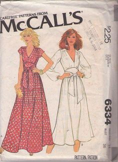 MOMSPatterns Vintage Sewing Patterns - McCall's 6334 Vintage 70's Sewing Pattern DREAMY Flattering Shaped Wide Waist Cinching Midriff Boho V Neck Day Dress, Cruise Maxi Gown Size 18