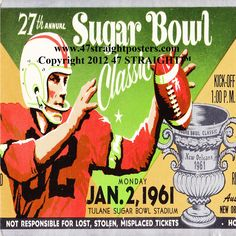 Coming Soon! Mississippi was the National Champion in 1960. They won the '61 Sugar Bowl 14-6 over Rice to finish undefeated. http://www.shop.47straightposters.com/Christmas-Football-Gifts_c68.htm Ceramic coasters made from authentic game tickets. The BEST football gifts in America!™ #47straight #christmas gifts