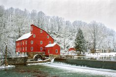 Red mill & waterfall in Clinton, Hunterdon County New Jersey