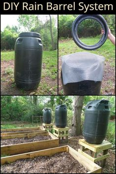 This rain barrel system collects rain water to ensure you have enough water supply for your garden! Barrel Easy to build rain barrel system Water Collection System, Rain Collection, Rain Barrel System, Garden Watering System, Water Barrel, Rainwater Harvesting, Water Systems, Hydroponics, Hydroponic Gardening