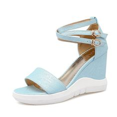 AmoonyFashion Women's High-Heels Soft Material Solid Buckle Open Toe Wedges-Sandals ** Read more  at the image link.