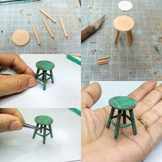 barbie doll house diy furniture Mini Furniture for dolls houses Hot glue fire painted with glass paint. Dollhouse Miniature Tutorials, Miniature Crafts, Miniature Dolls, Diy Dollhouse Miniatures, Miniature Houses, Homemade Dollhouse, Ikea Dollhouse, Dollhouse Design, Barbie Miniatures