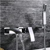 Wall Mounted Bathroom Faucet Bath Tub Mixer Tap With Hand Shower Waterfall Shower Faucet hot and cold waterfall brass torneira Bathroom Shower Faucets, Copper Bathroom, Bathtub Shower, Shower Set, Bathroom Fixtures, Modern Bathroom, Bathroom Wall, Bathtub Faucets, Bath Tub
