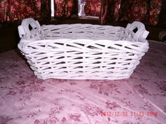 Vintage  Shabby Cottage Chic White Wicker Basket by thebedpost02, $14.00