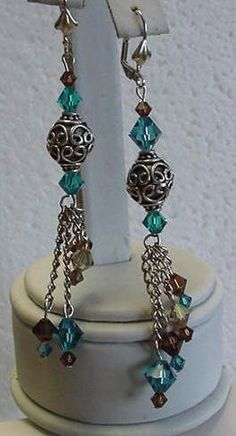 misty blue swarovski crystal dangle earrings
