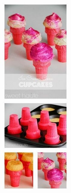 SWEET HAUTE: Pink Ice Cream Cone Cupcakes Tutorial Valentines Day ideas, birthday parties, cheerleading, breast cancer awareness, bridal / baby shower, sorority sister gifts! Pin now...read later.