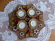 Adventní svícen osmihran / hvězdy - IHNED Christmas Clay, Christmas Crafts, Advent, Sugar Art, Ceramic Clay, Candle Holders, Candles, Wreaths, Ceramics