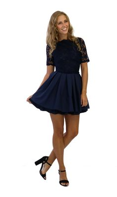 Jones and Jones Audrey Navy Lace 3/4 Sleeve Dress - Dresses - Shop £65.00