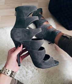 Hallow Out Peep Toe Women Pumps High Thin Heel Back Zipper Runway Star Shoes Fashion Sexy Sandalia Chaussures Femmes Gladiator Zapatos Shoes, Shoes Heels, Gray Heels, Flats, Stiletto Heels, Cute Shoes, Me Too Shoes, Dressy Shoes, Casual Shoes