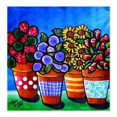 4 Fun Flower Pots Folk Art Whimsical Colorful by reniebritenbucher, $70.00