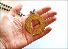 Geometric Necklace, Cirlce Necklace, Hammerd Pendant, Round Necklace, Agate Necklace, Raw Brass Necklace, Long Necklace