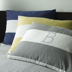 Color pairings: navy, gray, citron  #westelm