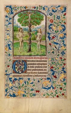 """Willem Vrelant Illumination : """"Adam and Eve Eating the Forbidden Fruit"""" (early 1460s)"""