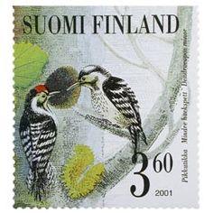 Postimerkki: Tikkalintuja - Pikkutikka | Suomen postimerkit