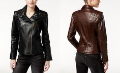 Calvin Klein Leather Quilted Moto Jacket - Jackets & Blazers - Women - Macy's