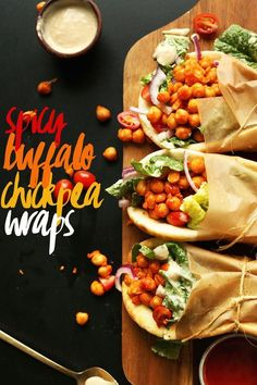 Spicy chickpeas, crispy vegetables, so… AMAZING Buffalo Chickpea Wraps! Baker Recipes, Vegan Recipes, Cooking Recipes, Spicy Vegetarian Recipes, Vegan Lunches, Lunch Snacks, Chickpea Wraps Recipe, Vegan Wraps, Chickpea Recipes