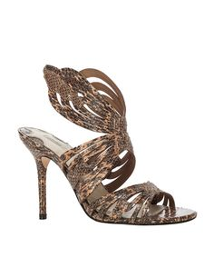 Leon Max Brown Saga - Snakeskin High Heeled Sandals