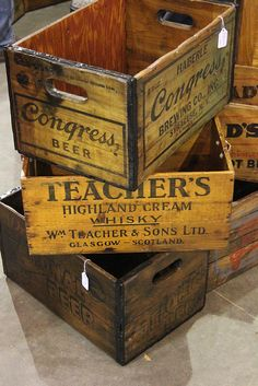 Vintage Crates- would love me some of these.