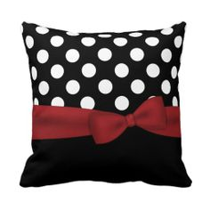 Elegant Black, White, and Red Monogram Pillow