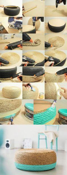 Puf DIY con cuerda y reciclando neumático (Muy Ingenioso) Ya habíamos visto aquí un ejemplo similar para construir un puf. Este proyecto lo hemos fand e Decorating Your Home, Diy Home Decor, Tire Craft, Tire Furniture, Recycling, Old Tires, Creation Deco, Diy And Crafts, Diy Projects