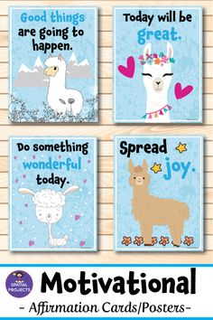 Check out these colorful llama motivational posters and affirmation cards. These 35 beautiful inspirational quotes are the perfect way to cheer and inspire your students! They are excellent for back to school bulletin board or for decorating your classroom walls. #affirmation #positivity #backtoschool #classroom #motivation #inspirationalquote