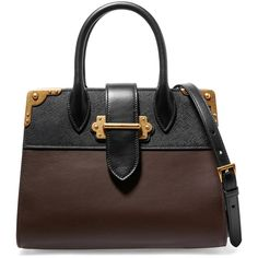 Prada Cahier large two-tone leather tote (168,150 PHP) ❤ liked on Polyvore featuring bags, handbags, tote bags, expandable tote, genuine leather handbags, leather totes, tote handbags and prada tote bag