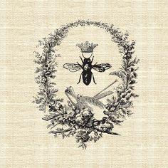 Bee fabric print