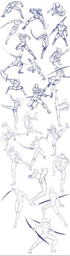 Battle/action poses by Antarija on DeviantArt - Body positions, weapons, fighting, swords; How to Draw Manga/Anime - Drawing Techniques, Drawing Tips, Drawing Sketches, Art Drawings, Pencil Drawings, Drawing Ideas, Sketching, Body Sketches, Contour Drawings