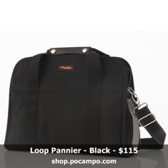 Pannier bike bag that doubles as laptop bag. Made with vegan, weatherproof fabric and has reflective accents and bottle pockets. Comes with a detachable, adjustable strap to wear as a crossbody bag. Shown in black waxed canvas fabric.