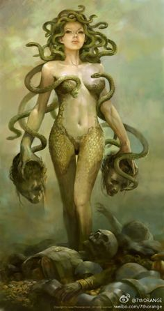 In Greek Mythology Medusa, one of the three Gorgons, daughter of Phorcys and Ceto. She was the only one of the Gorgons who was subject to mortality. She is celebrated for her personal charms and the beauty of her locks. Neptune became enamoured of her, and obtained her favours in the temple of Minerva. This violation of the sanctity of the temple provoked Minerva, and she changed the beautiful locks of Medusa, which had inspired Neptune's love to serpents. According to Apollodorus, Medusa an