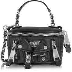 Moschino Handbags Black Nappa Shoulder Bag ($1,420) ❤ liked on Polyvore featuring bags, handbags, shoulder bags, moschino handbags, zip purse, shoulder bag handbag, shoulder hand bags and zipper handbag