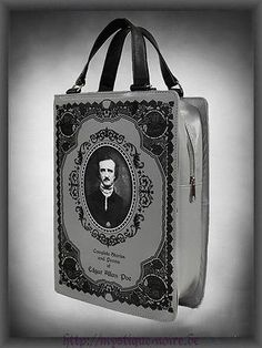 Edgar Alan Poe Scary Book Satchel Shoulder Hand Bag Goth Halloween Victorian