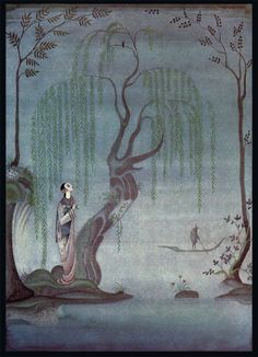 """""""The Nightingale"""" from Andersen's Fairy Tales, illustrated by Kay Nielsen (1923)"""